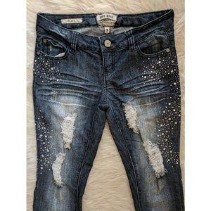 Hot Kiss Skinny Lily Rhinestone Distressed Jeans
